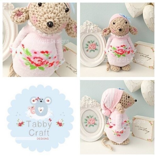 Standing Mouse with Floral Jumper and Hat - Beige, Pink and Blue