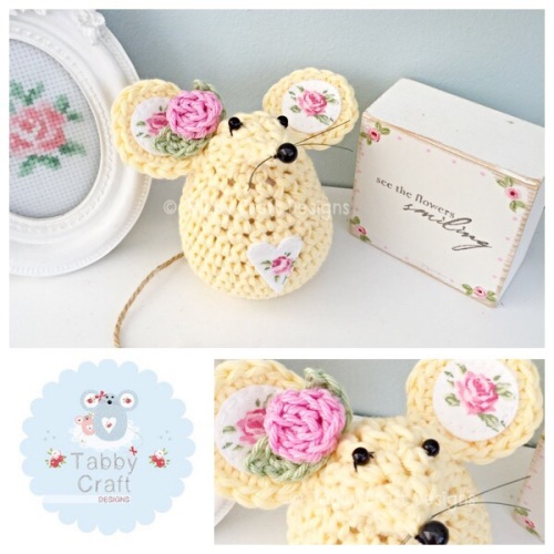 Small Rosebud Mouse - Lemon and Pink