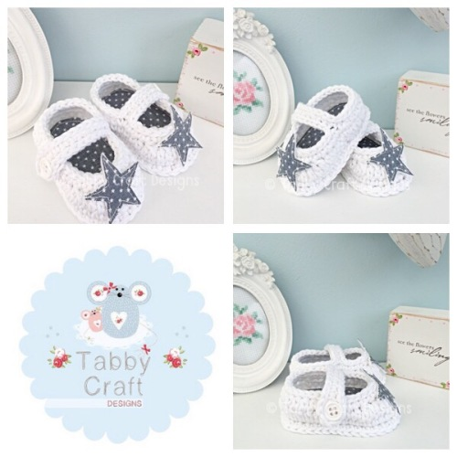 Star Baby Shoes - White and Grey