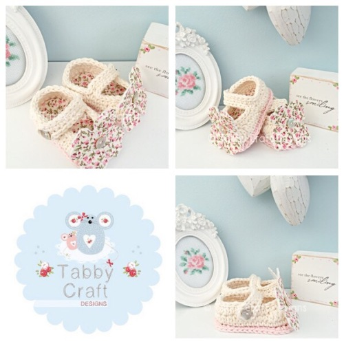 Flower Mary Jane Baby Shoes - Ivory and Pink
