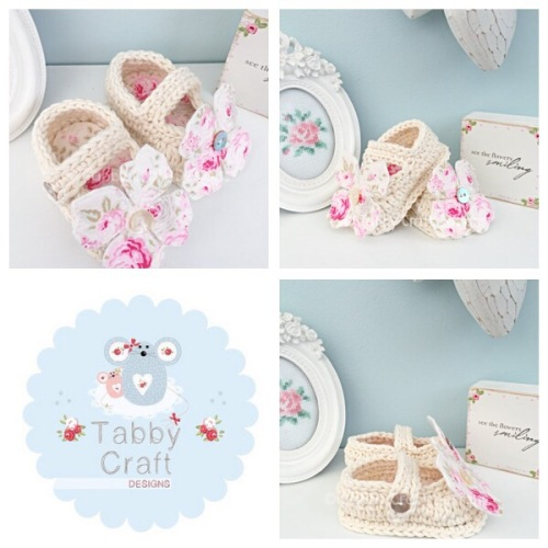 Flower Mary Jane Baby Shoes - Ivory