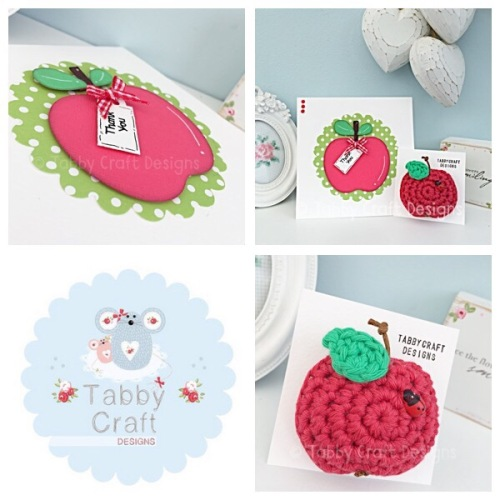 Apple Brooch with Ladybird and Card Set - Red