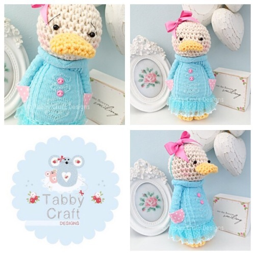 Standing Duckie with Large Bow and Jumper - Ivory, Aqua and Pink