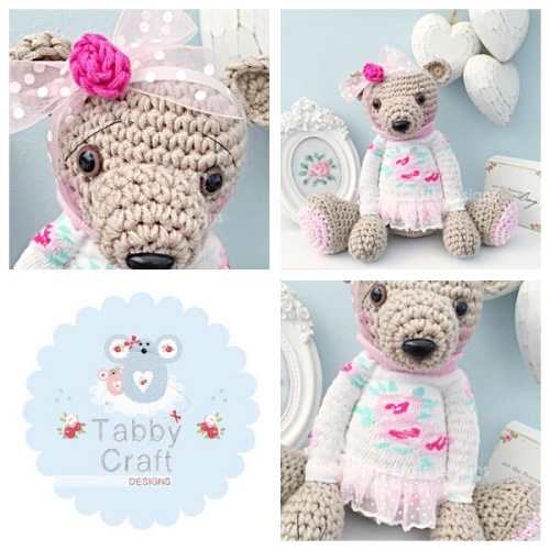 Large Floral Teddy Bear with Jumper - Beige, Ivory and Pink
