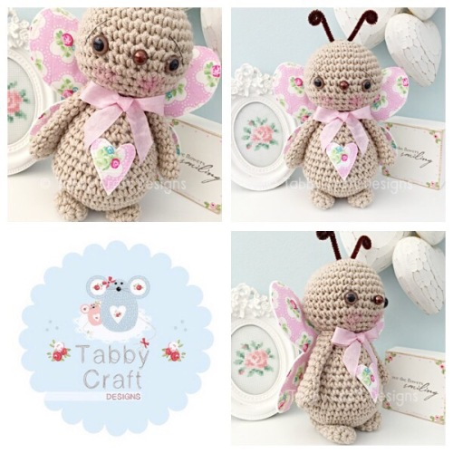 Standing Butterfly with Large Bow - Beige and Pink