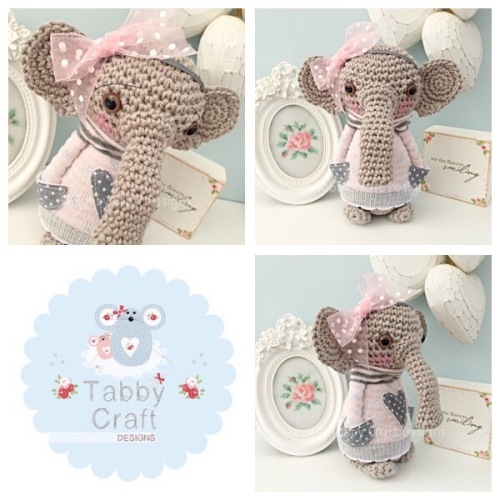 Standing Elephant with Large Bow and Jumper - Grey and Pink