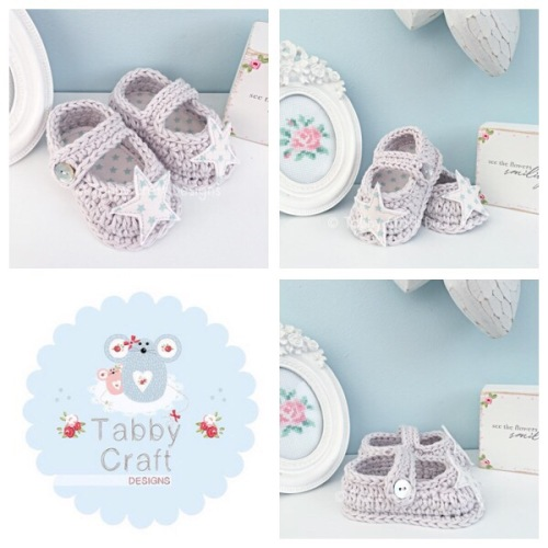 Star Baby Shoes - Grey and Mint