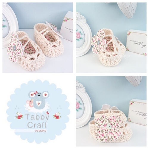 Mary Jane Baby Shoes with Dlower Button - Ivory and Pink