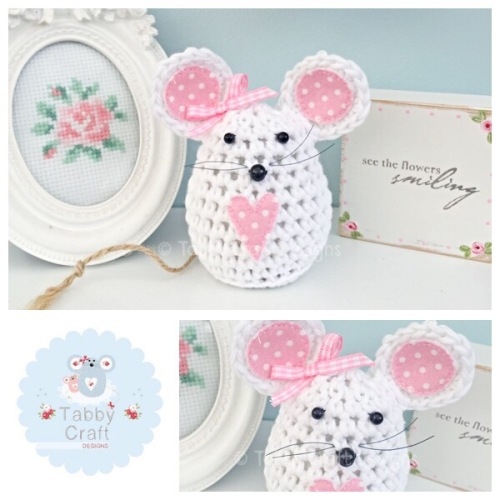 Small Polka Dot Mouse - White and Pink