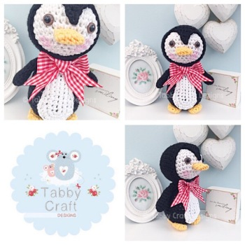 Standing Penguin with Large Bow  - White, Black and Red