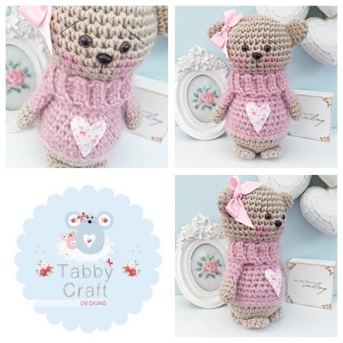 Standing Teddy Bear with Fluffy Heart Jumper  - Beige and Pink
