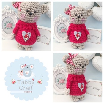 Standing Teddy Bear with Fluffy Toadstool Heart Jumper  - Beige and Red
