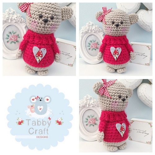Standing Teddy Bear with Fluffy Toadstool Heart Jumper  - Beige and Pink