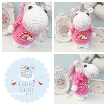 Standing Unicorn with Rainbow Jumper - White and Pink