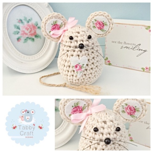 Small Floral Mouse - Ivory and Pink