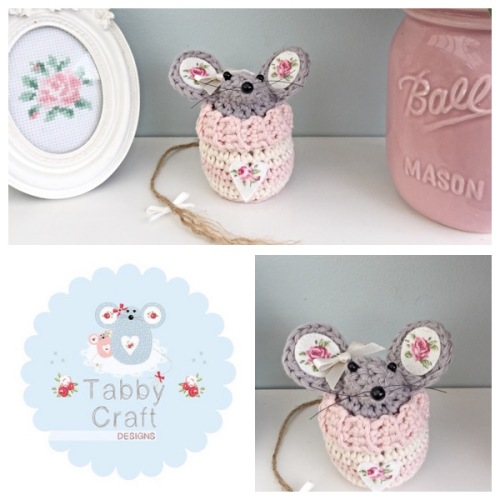 Small Heart Jumper Mouse - Pink and Cream