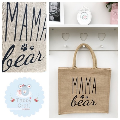 Mama Shopping Bag - Mama Bear - Natural Jute