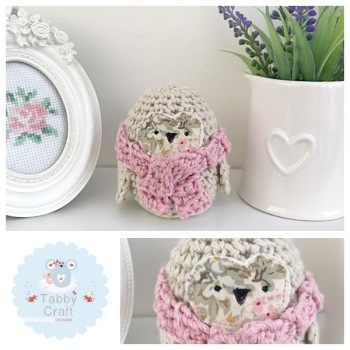 Small Scarf Owl - Beige/Pink
