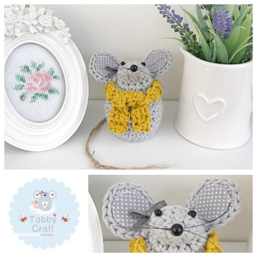 Small Scarf Mouse - Mid Grey and Mustard