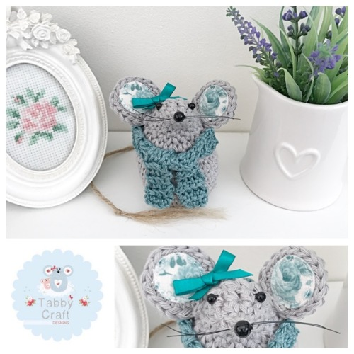 Small Scarf Mouse - Grey and Teal