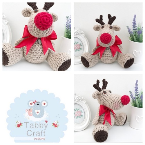 Sitting Reindeer with Large Bow - Beige, and Red