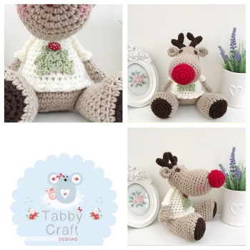 Sitting Reindeer with Holly Jumper - Beige, and Cream