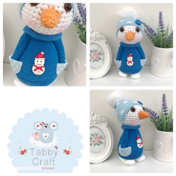 Standing Snowman with Hat and Jumper - White and Blue