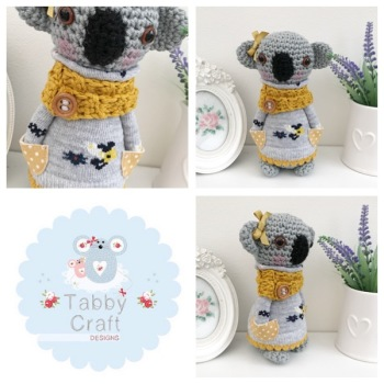 Standing Koala Bear with Jumper and Scarf - Grey and Mustard