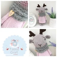 Reindeer with Jumper and Scarf - Grey and Pink