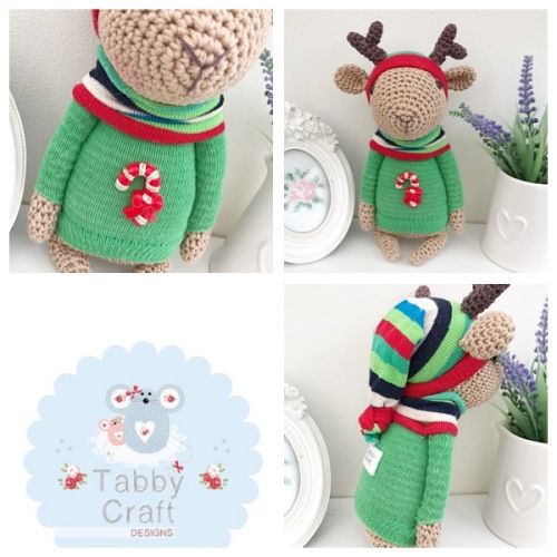 Reindeer with Jumper and Scarf - Beige and Green