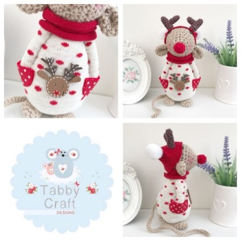 Standing Reindeer Mouse with Beanie Hat and Spotty Jumper - Beige, Ivory and Red