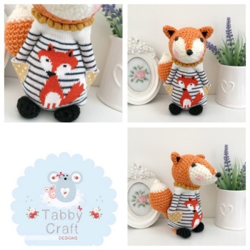 Standing Fox with Fox Jumper - Orange, Ivory and Black