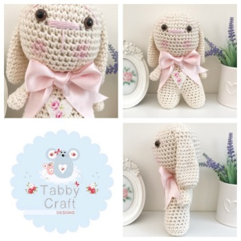 Bunny with Large Bow - Ivory and Pink