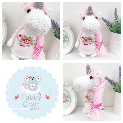 Standing Unicorn with Floral Jumper and Long Hair  - White, and Pink