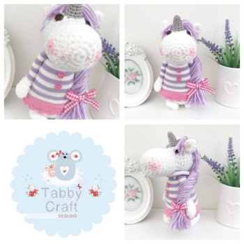 Standing Unicorn with Striped Jumper and Long Hair  - White, Lilac and Pink