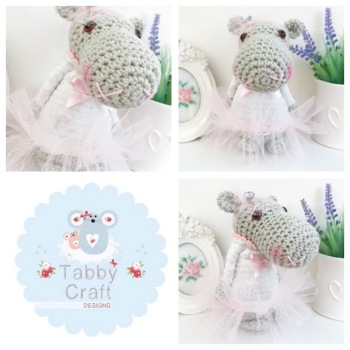 Standing Hippo with Star Jumper and Glitter Tutu - Grey and Pink