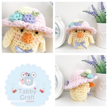 *** Pre-Order Only *** Small Spring Chick with Bonnet - Lemon and Pink