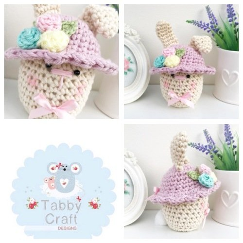 *** Pre-Order Only *** Small Spring Bunny with Bonnet - Ivory and Lilac