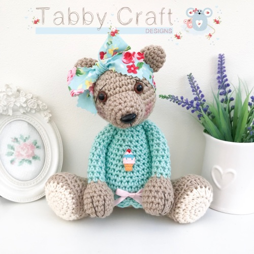 Large Floral Bow Teddy Bear with Ice Cream Jumper - Beige, Ivory and Pink