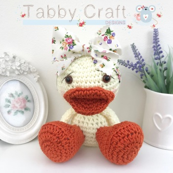 Duckie with Large Floral Bow - Lemon