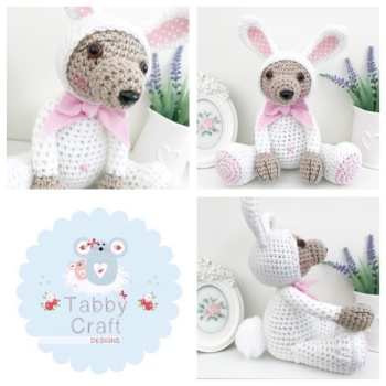 Large Dress Up Bunny Teddy Bear  - Beige, White and Pink