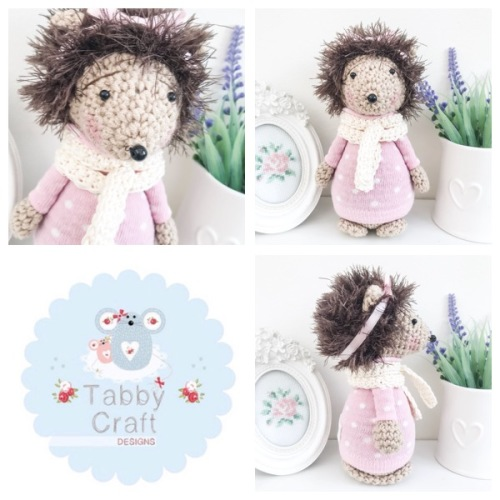 Standing Hedgehog with Bow and Spotty Jumper - Ivory and Pink