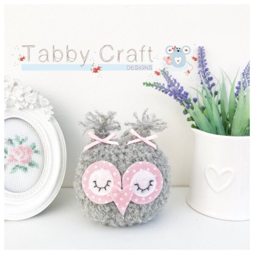 Small Sleeping Baby Owl - Grey and Pink