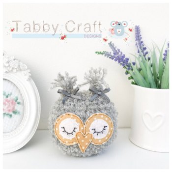 Small Sleeping Baby Owl - Grey and Mustard