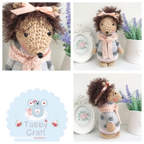 Standing Hedgehog with Bow and Striped Jumper - Blush pink and Grey