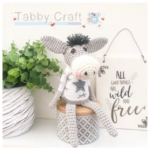 Sitting Donkey with Star Jumper - Grey and Ivory