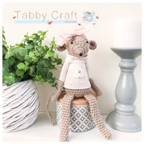 Sitting Mouse with Flower Jumper - Beige, Pink and Ivory