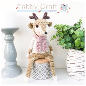Sitting Deer with Striped Jumper and Scarf - Beige, Pink and Ivory