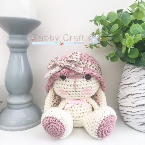 Bunny with Hat and Floral Fabric Flower - Ivory and Pink