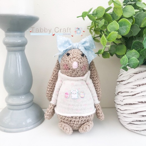 Floral Standing Bunny with Large Bow and Jumper - Beige, Pink and Ivory